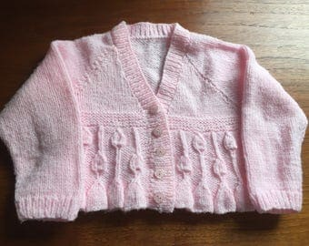 Baby pink v necked cardigan high waisted