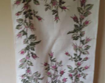 Vintage Moss Rose Kitchen Towel