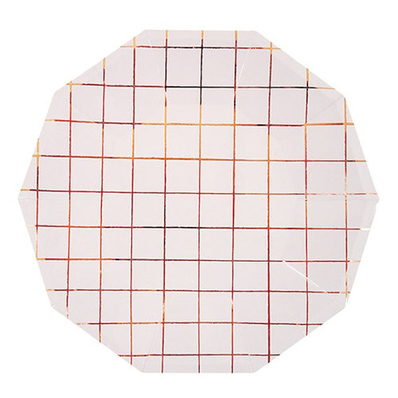 Il_570xn  sc 1 st  Catch My Party & LARGE Rose Gold Grid Plates | Metallic copper paper plates | Rose ...