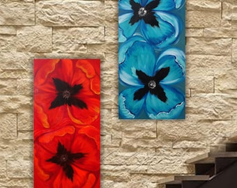 Red blue Poppies Big Painting on canvas poppy triptych Contemporary Art Acrylic Original paintings on canvas by KSAVERA