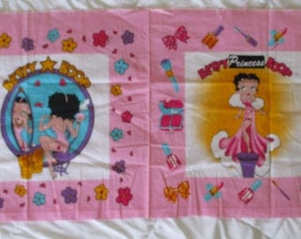 "Vintage Betty Boop Sew Panel Pillow Cotton Pink 17"" x 42"""