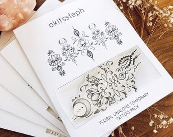 Floral Unalome Temporary Tattoo Set