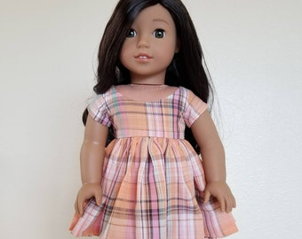 Multicolor Plaid  Party Dress with a gathered skirt for 18 inch dolls by The Glam Doll