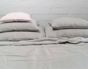 Linen Bedding -  gray bedding, duvet cover and pillow cases,Twin,  Full, Queen, King size bedding set, light gray linen