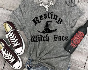Resting Witch Face Halloween Tee Shirt - Off Shoulder Halloween Tee - Witch Tee Shirt - Funny Halloween Shirt - Womens Halloween Shirt