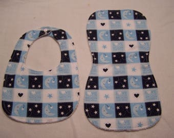 Love you to the Moon and blue Patchwork bib and burp cloth sets for baby boys, girls, infants, or toddlers.