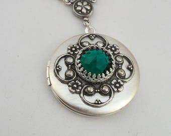 Emerald Antique Style Silver Locket, Valentine Gift For Her