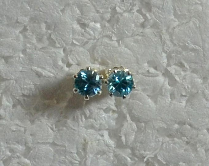 Sale Blue Zircon Stud Earrings, 4mm Round, Natural, Set in Sterling Silver E786