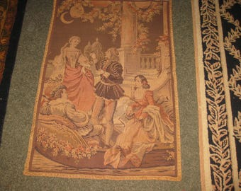 "MADE IN BELGIUM Hanging Tapestry Muted Colors Renaissance Couples In The Garden Under The Moon 26"" x 39 1/2"""