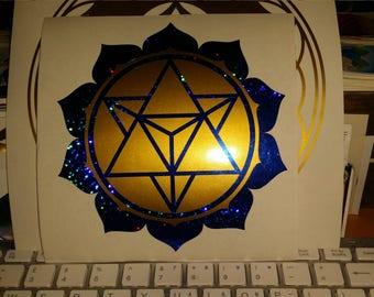 Lotus Merkaba Ruby Sparkle/Azurite Blue 13cm