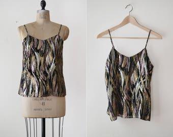 Dalila Blouse / 1970s lurex camisole / vintage metallic blouse