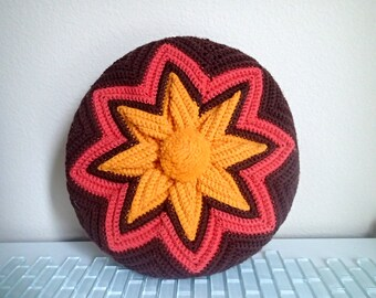 Knit Round Pillow - Mod Orange Melon Brown Star Pattern