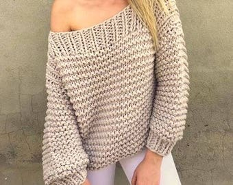 Chunky Knit Sweater Off to Shoulder Chunky Sweater Boat Neck Big Sweater Women's Men's Clothing  Gift Ideas Made to Order
