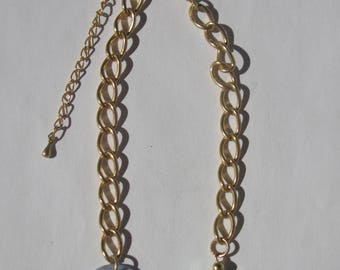 colored metal chain gold plated clasp, 20cm + 2-(PV27-11) glass beads