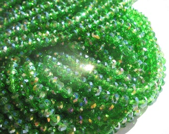 30 flat and round faceted beads glass 7-8 mm (98)