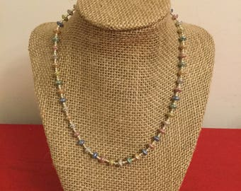 Pastel colored knotted necklace