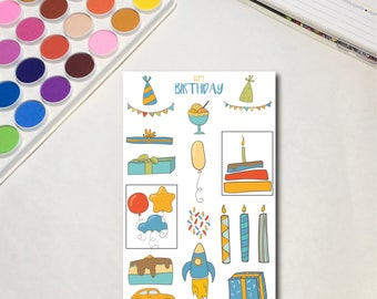 Birthday Boy Planner Sticker Sheets, The Ones for Birthday Boys,Celebrate Party Guys