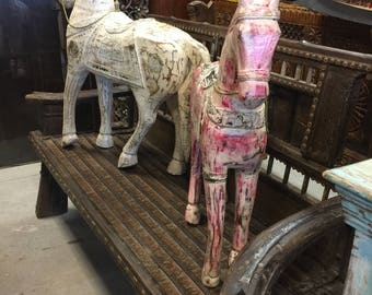 Antique Wooden horse painted white distressed shabby cottage chic Decor