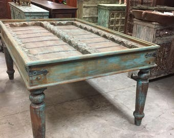 Antique Old Door Distressed Blue Dining Table Haveli Carved OFFICE Tables FARMHOUSE Southern Rustic Furniture Shabby Chic