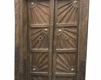 Sunshine Farmhouse Antique Indian Doors Hand Carved Haveli Teak Wood Double Door & Frame FREE SHIP Early Black Friday