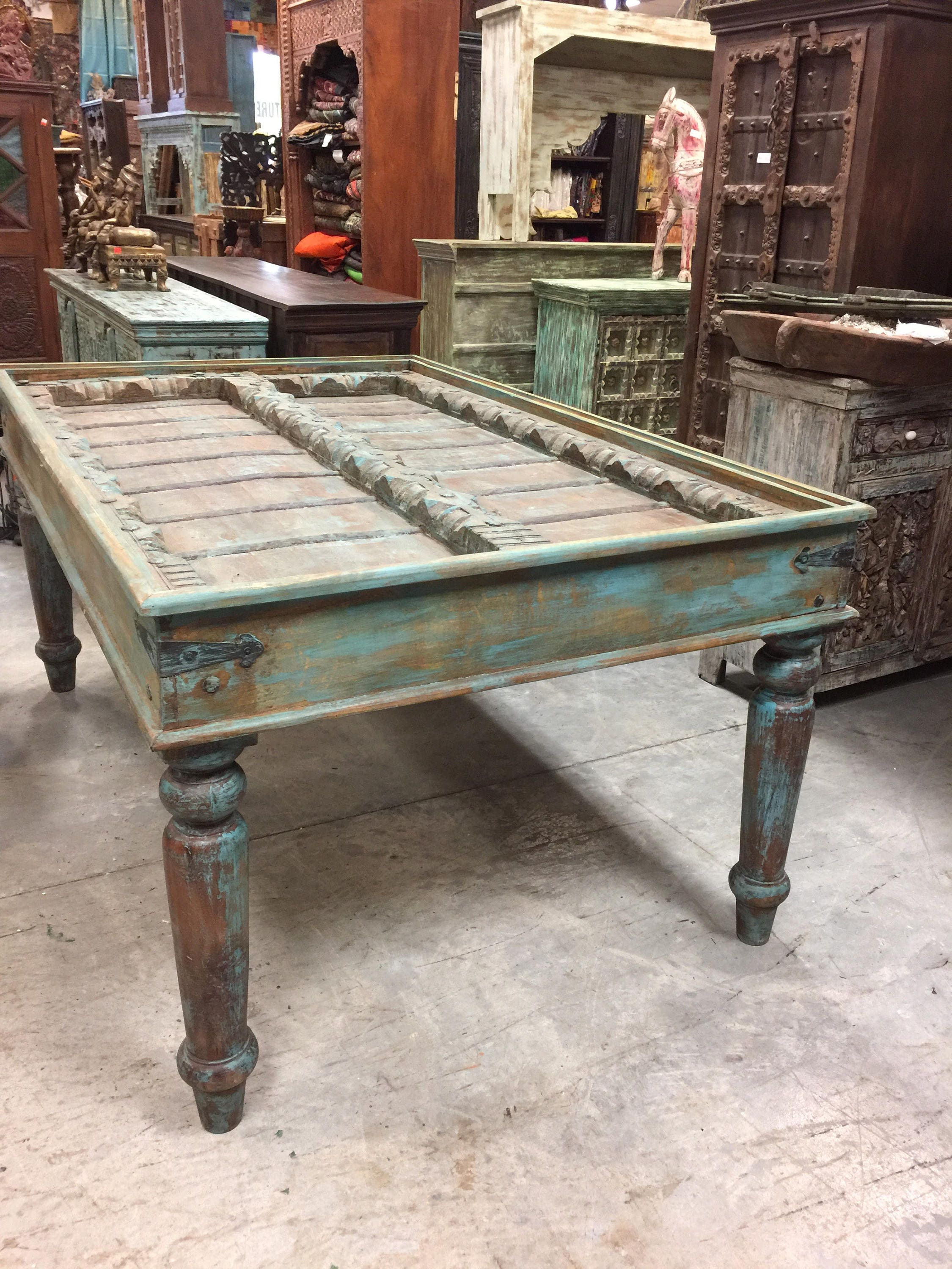 Antique Old Door Distressed Blue Dining Table Haveli Carved