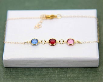Mother Bracelet, Gift for Mother, Sisters Bracelet, Gift for Sister, Birthstone Bracelet, Personalized Bracelet, Any Month Charm Bracelet