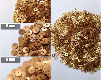 10000 COPPER Sequins Paillette Spangles - 2mm 4mm 6mm 8mm 10mm - Flat Round Sewing Craft DIY Embroidery