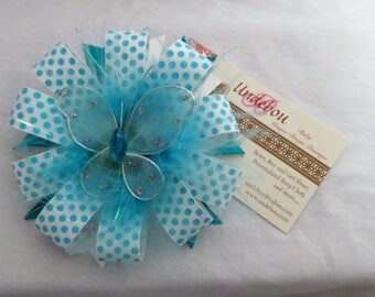 Blue and White Hair Bow - Dressy Blue and White Hair Clip