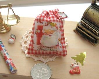 dollhouse christmas toy sack santa happy holidays  12th scale miniature