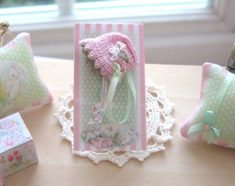 dollhouse  doll bonnet pink  knitted embroidered  nursery shop 12th scale