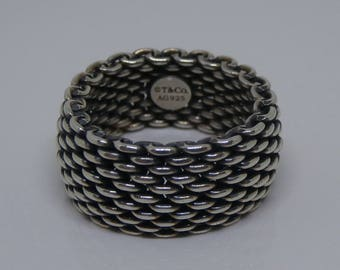 Vintage TIFFANY & CO 925 Silver Mesh Ring Men's Size 8.5 Unisex ~ Authentic Tiffany Designer Antiqued 925 Sterling Silver Ring