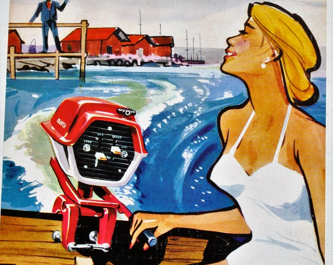 "Vintage Swedish Husqvarna Boat Motor Ad Mid Century 1950's Postcard 8"" x 6"" Retro"