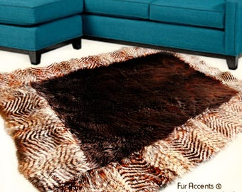 Plush Faux Fur Throw Area Rug - Brown Shag Bear with Brown Feather Fur Border Trim - Ultra-Suede Lining - Fur Accents - USA