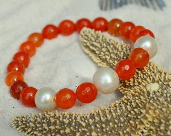 Red Agate and Freshwater Pearl Bracelet- Gemstone Stacking Bracelet- Stacker Bracelet- Stretch Cord Design