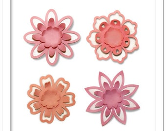 3D Pop out petals decorating flowers, cutting file in SVG, DXF, PDF formats