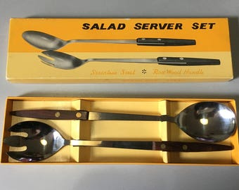 Danish Style Rosewood and Stainless Steel Salad Servers Boxed