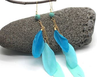 Long Feather Earrings - Blue Feather Earrings, Long Earrings, Feather Earrings