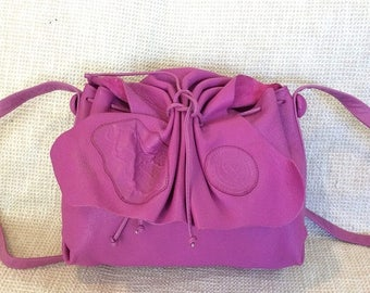 20% SUMMER SALE Genuine vintage CARLOS Falchi Butterfly magenta leather shoulder bag purse crossbody