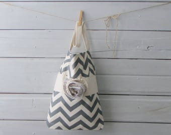 Medium Size Gray and Cream Chevron Tote Bag With Hand Knit Flower