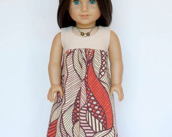 American girl doll sized maxi dress - shades of pink and orange