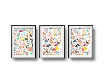 Three colourful Terrazzo prints - set – 6x4 – pattern – multicolor