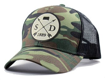 Homeland Tees South Dakota Arrow Hat - Army Camo Trucker