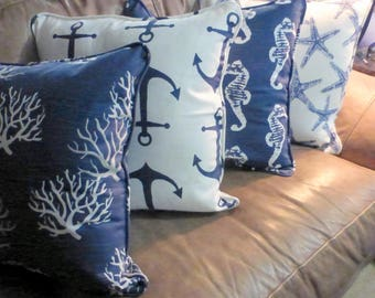 Nautical Pillow covers Set of 4 - Navy Blue and White - Premier Prints designer fabric - Starfish, seahorses, anchors, coral - corded edge
