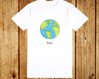 World Peace T Shirt -  Peace Pacifist Anti War Planet Earth - White Green Blue Adults Mens Womens T Shirt Top