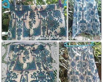 Boho Vintage Peacock Blue Cotton Skirt Unused Handmade Geometrical Prints French Boussac Fabric Medium #SophieLadyDeParis