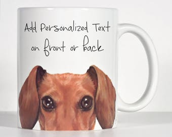 Dachshund Mug, Red Doxie Mug, Peekaboo Dachshund Gift, Personalized Dachshund