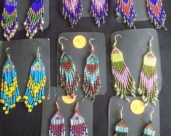 Beaded earrings, various colors.