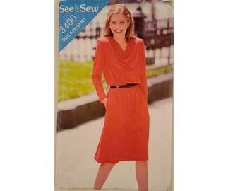 UNCUT See & Sew #3400 Drape Cowl Front Knit Jersey Dress Sewing Pattern 5 Sizes UK 8 to 18