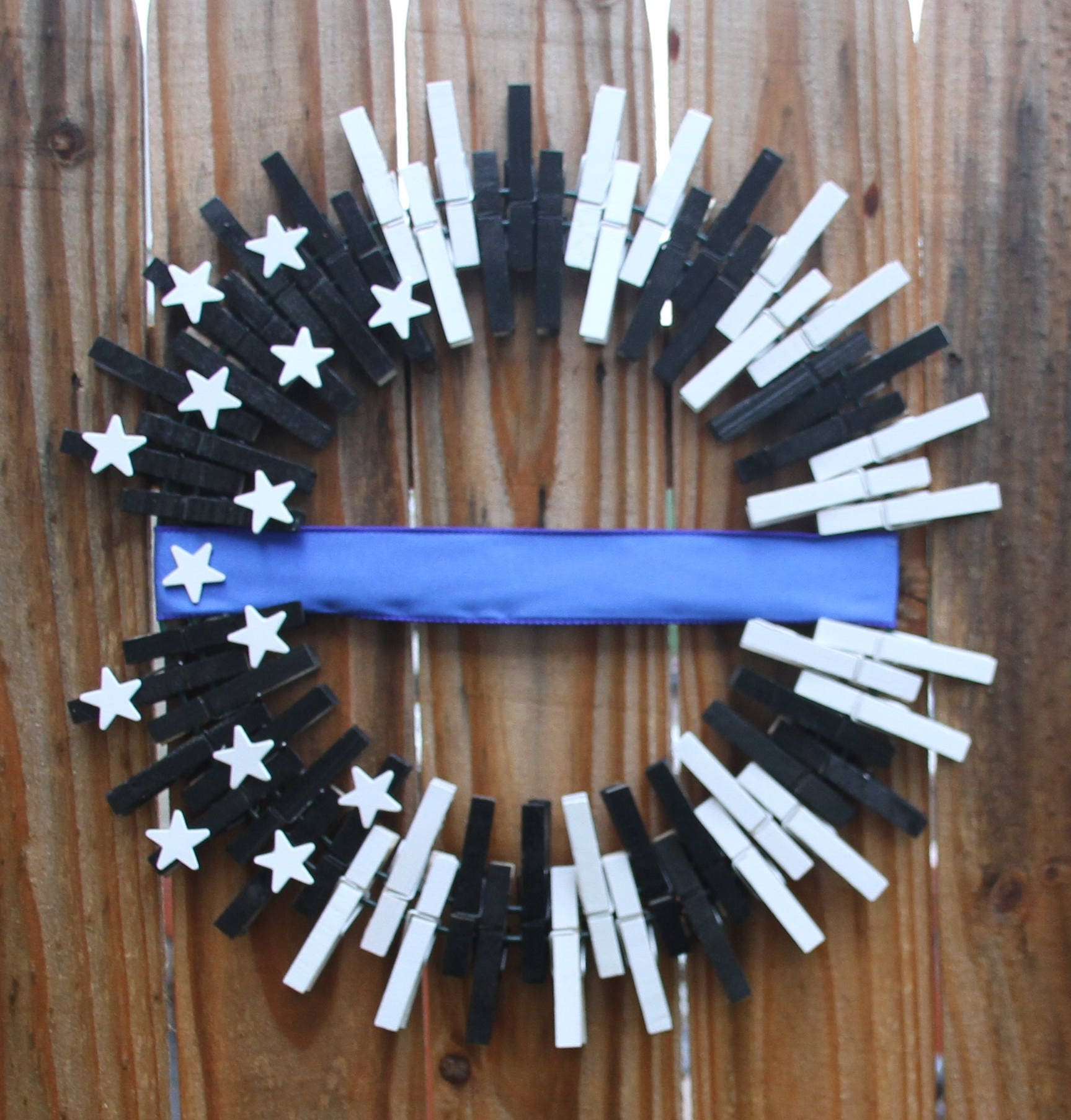 Thin Blue Line Wreath Police Officer Home Decor Gift