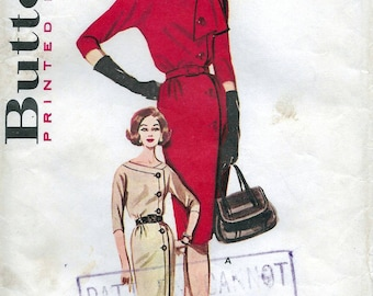 50s Butterick dress sewing pattern 9919, Bust 34 inches, side buttoned dress